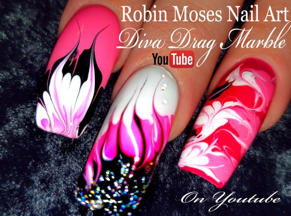 long no water drag marble pink black white diva YT