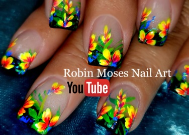 neon flowers on black tips YT