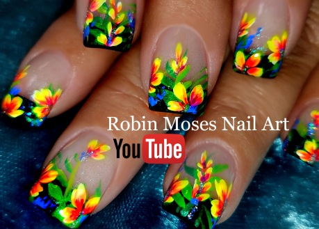 neon flowers on black tips YT