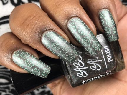 Steel Holo Stiletto w/ nail art
