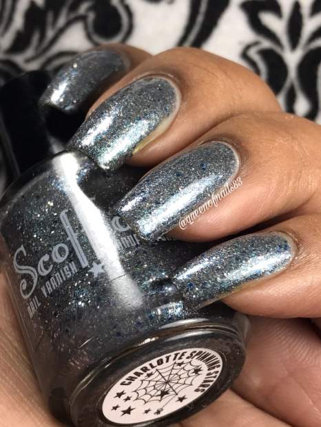 Scofflaw Nail Varnish - Charlotte Spinning in the Stars w/ glossy tc