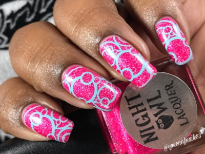 Night Owl Lacquer - Save the Hooters w/ nail art
