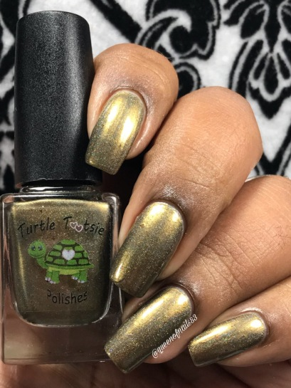 "Turtle Tootsie Polishes - ""Scattered Leaves"" w/ glossy tc"