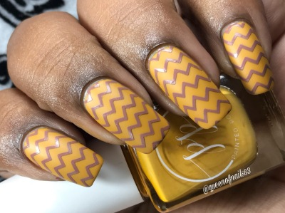 Fall into Zen: The Cremes - Stamped in Mustard w/ nail art