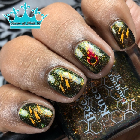 Bee's Knees Lacquer - Bubbling Candle - w/ nail art