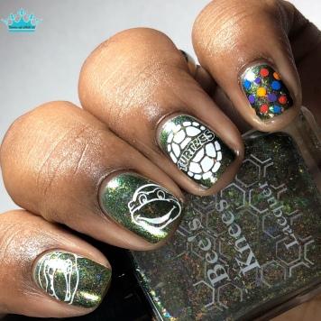 Bee's Knees Lacquer - Go Ninja, Go Ninja, Go! - w/ nail art