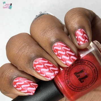 "77 Nail Lacquer - ""Fighting To Remember"" - w/ nail art"