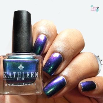 Kathleen & Co. Polish - Blues Your Illusion - w/ glossy tc